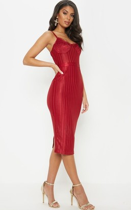 Pure Deep Red Lace Detail Striped Mesh Midi Dress