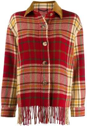 Etro check print fringe jacket