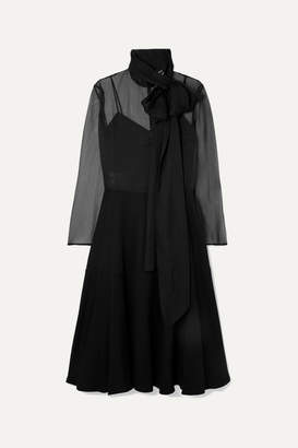 Valentino Pussy-bow Silk-organza And Satin Gown - Black
