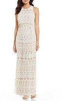Jessica Howard Lace Blouson Maxi Dress