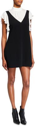 Cinq à Sept Rei Short-Sleeve Faux Overall Dress