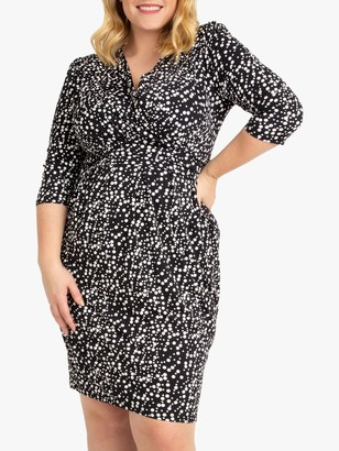 Jolie Moi Spotted Wrap Front Tulip Dress, Navy