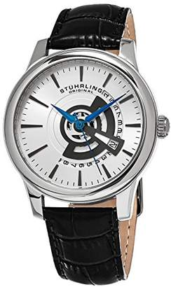 Stuhrling Original Men's 787.01 Symphony Quartz Date Leather Strap Black Watch