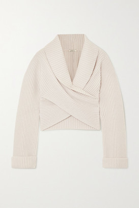 Nina Ricci Cropped Wrap-effect Ribbed Wool And Cashmere-blend Sweater - Off-white