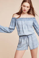 Cloth & Stone Striped Chambray Off-The-Shoulder Romper