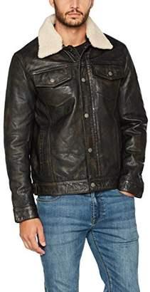 Camel Active Men's Lederjacke Jacket, (Black 031), (Size:50)