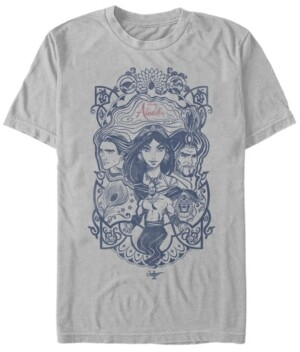 Disney Men's Aladdin Live Action Group Shot Line Art Poster Short Sleeve T-Shirt