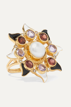 Papi Percossi Gold-plated And Enamel Multi-stone Ring - Burgundy