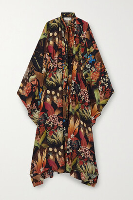 Lanvin - Belted Pussy-bow Floral-print Silk-chiffon Maxi Dress - Black
