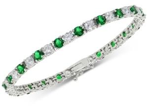 Macy's Cubic Zirconia Green Tennis Bracelet in Sterling Silver