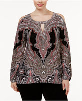 INC International Concepts Plus Size Cold-Shoulder Printed Top, Only at Macy's
