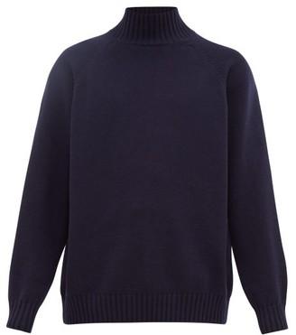 Raey Funnel-neck Wool Sweater - Navy