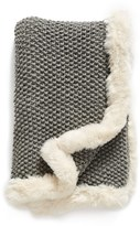Nordstrom Faux Fur Border Knit Throw