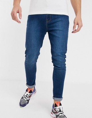APT carrot fit jeans in mid blue