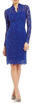 Marina Long-Sleeve Floral-Lace Dress