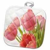 3dRose Florene Flowers - Pleasantly Pink Tulips - 8x8 Potholder (phl_55218_1)