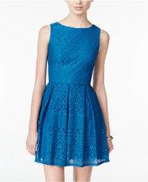 B. Darlin Juniors' Pleated Lace Fit & Flare Dress