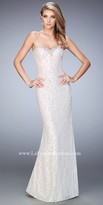 La Femme Neckline Embellished Sweetheart Prom Gown