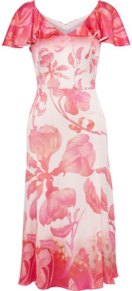 Peter Pilotto Ruffled Floral-print Hammered Silk-blend Satin Dress