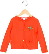 Bonpoint Girls' Bow-Accented Long Sleeve Cardigan