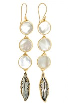 HEATHER BENJAMIN Mother of Pearl Feather Drop Earrings