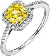Lafonn Platinum Plated Sterling Silver Halo Set Asscher Cut Simulated Diamond Ring
