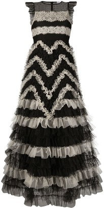 RED Valentino Tulle Lace-Panelled Long Dress