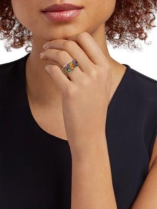 Effy 14K White Gold Multi-Color Sapphire & Diamond Cluster Ring