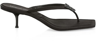Alexander Wang Bianca Square-Toe Embellished Satin Thong Sandals