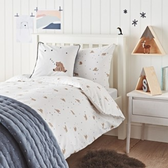 The White Company Easy-Care Sleepy Bear Bed Linen Set, White Blue, Cot Bed