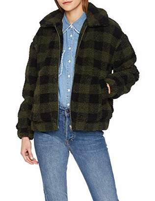 New Look Women's Check Short Teddy Bomber Jacket,12 (Manufacturer Size:52)