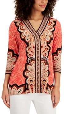 JM Collection Mixed-Print Tunic Top, Created for Macy's