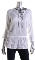 Lauren Ralph Lauren LRL Womens Cotton Embroidered Tunic Top