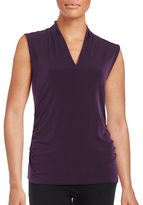 T Tahari Bellinda Ruched Knit Shell