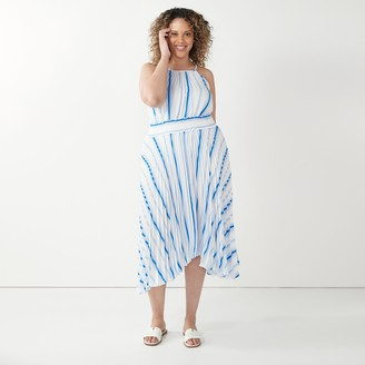 Nine West Plus Size Pleated Halter Dress
