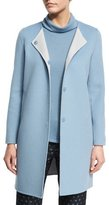 Armani Collezioni Wool-Cashmere Snap-Front Car Coat, Medium Blue