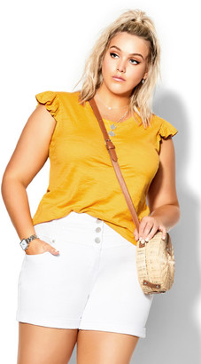 City Chic Frill About Tee - golden yellow