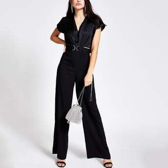 River Island Womens Black snaffle front cape sleeve jumpsuit
