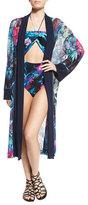Fuzzi Tropical-Print Belted Kimono Coverup