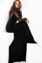 Jovani 37545 High Illusion Geo-Beaded Gown