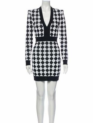 Balmain Plaid Print Mini Dress Black