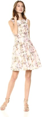 Gabby Skye Women's Watercolor Floral Fit and Flare Dress