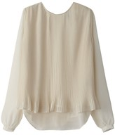 School Rag Plain Round Neck Blouse with Long Sleeves
