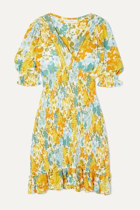 Faithfull The Brand Margherita Shirred Floral-print Crepe Mini Dress - Yellow