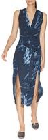 Halston Printed Double-Slit Dress