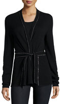 Rani Arabella Cashmere Cardigan w/Embellished Trim, Black