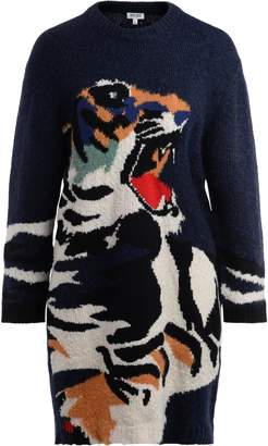 Kenzo Crew Neck Dress In Blue Knit With Front Tiger Embroidery