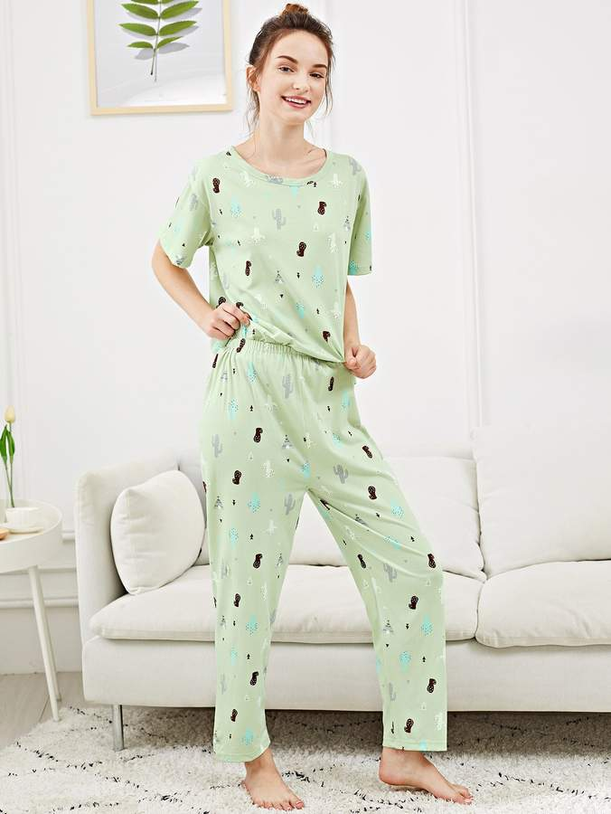 All Over Cactus Print Pajama Set