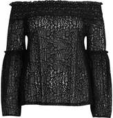 River Island Womens Black lace flared sleeve bardot top