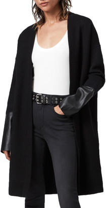 AllSaints Essy Leather Cuff Wool Cardigan